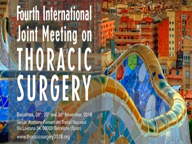 La Fourth International Joint Meeting on Thoracic Surgery se celebrarà a Barcelona